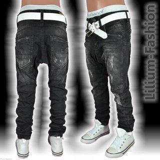 neu kommen an begrenzter Verkauf Tiefstpreis 3835 schwarze DENIMLAB Jeans Hose Junge Kinder mit tiefem Haremschnitt  128-170