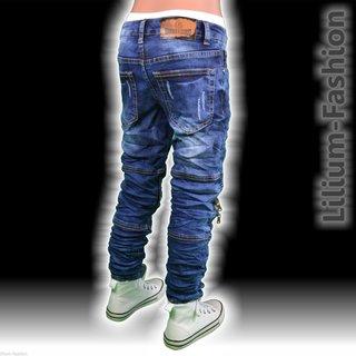 487e155b53cc ... 609-Blau Jeans Hose Junge Kinder SLIM-FIT Skinny BIKERJEANS Stretch