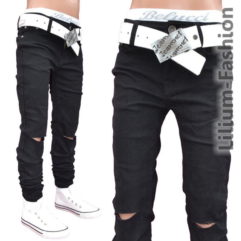 a1807 jeans hose junge kinder skinny bikerjeans stretch schwarz. Black Bedroom Furniture Sets. Home Design Ideas