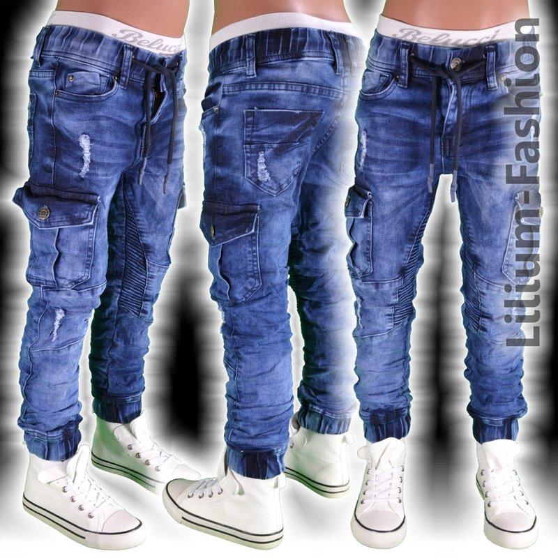 st 008 blau coole cargo jogg jeans hose biker style junge. Black Bedroom Furniture Sets. Home Design Ideas