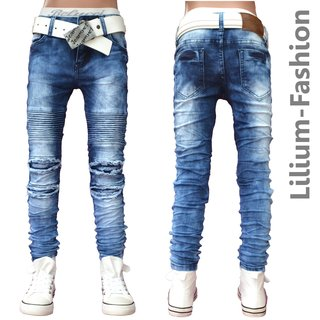 4ef5e4f490e1 30LF16 -2 Blau Jeans Junge Kinderjeans Skinny Bikerjeans Stretch