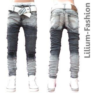 34e37cf513e2 30LF07 Grau Jeans Junge Kinderjeans Skinny Bikerjeans Stretch, 19,99