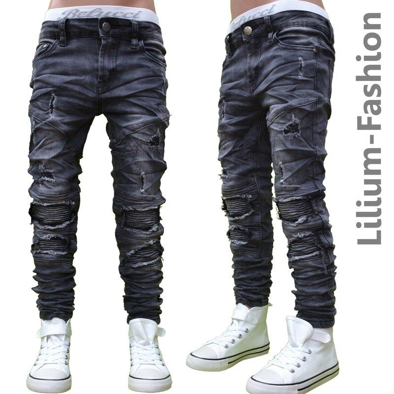 30lf10 schwarz jeans junge kinderjeans skinny bikerjeans. Black Bedroom Furniture Sets. Home Design Ideas