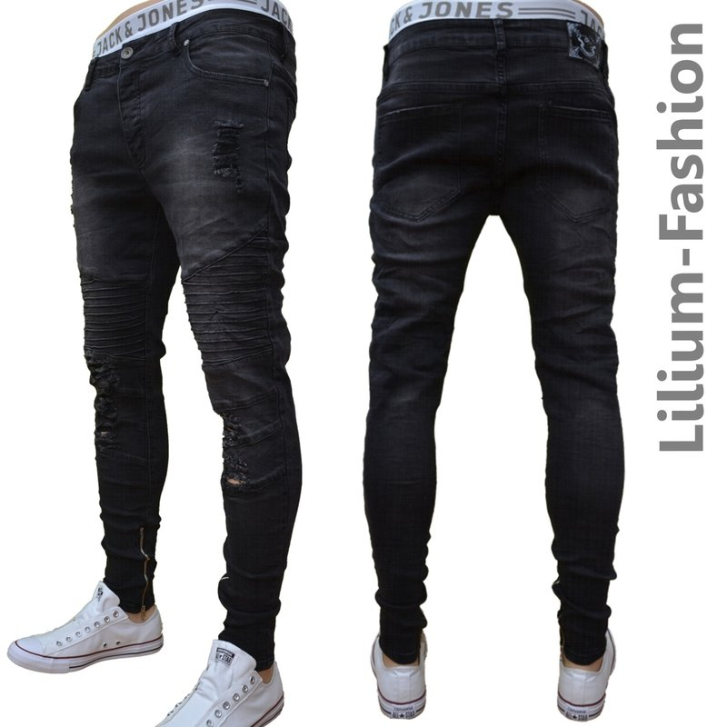 70lf03 schwarze jeans herren junge skinny bikerjeans. Black Bedroom Furniture Sets. Home Design Ideas