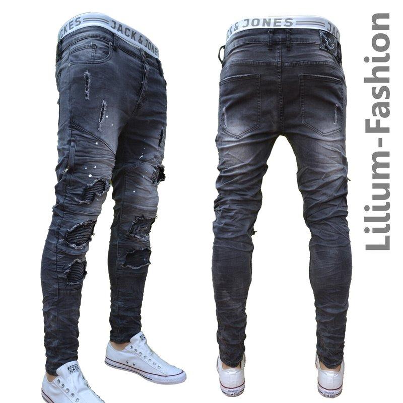 70lf24 schwarze jeans herren junge skinny bikerjeans stretch 34 99. Black Bedroom Furniture Sets. Home Design Ideas