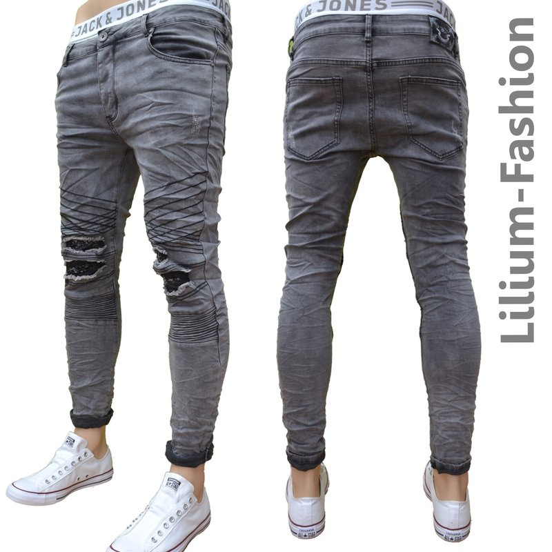 70lf34 graue jeans herren junge skinny bikerjeans stretch. Black Bedroom Furniture Sets. Home Design Ideas