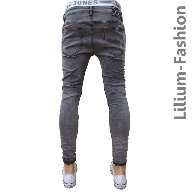 70lf34 graue jeans herren junge skinny bikerjeans stretch 34 99 eur. Black Bedroom Furniture Sets. Home Design Ideas