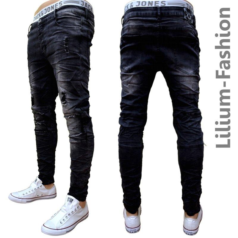 70lf37 schwarze jeans herren junge skinny bikerjeans stretch 34 99. Black Bedroom Furniture Sets. Home Design Ideas