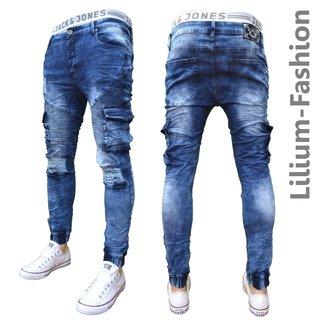 94793e7cfe9f 70LF50 Blaue Jeans Herren Junge Skinny Bikerjeans Jogg Cargo Stretch ...