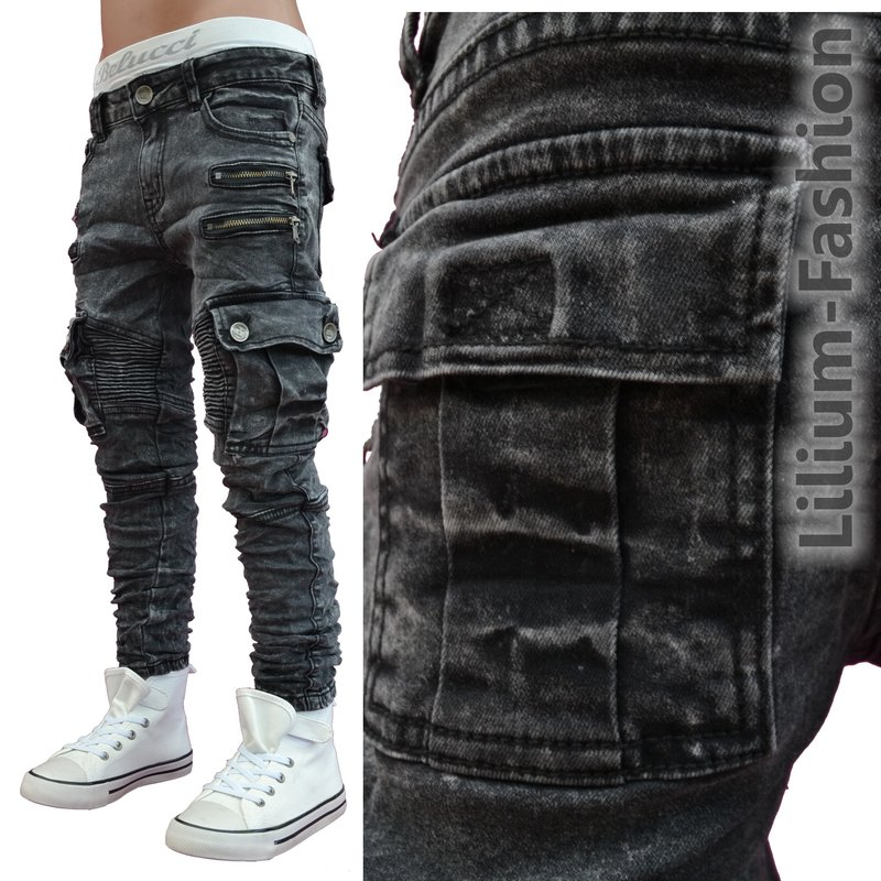 st 035 schwarz coole cargo jeans hose biker style. Black Bedroom Furniture Sets. Home Design Ideas