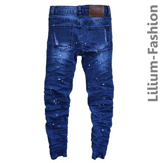 30LF34-1 Blau Jeans Hose Junge Kinder Bikerjeans Slim-Fit Stretch